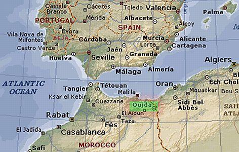 carte maroc algérie